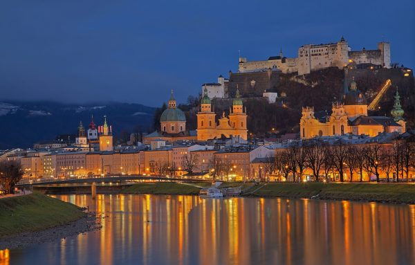 Обои ночь, огни, река, замок, Австрия, собор, Зальцбург картинки ...